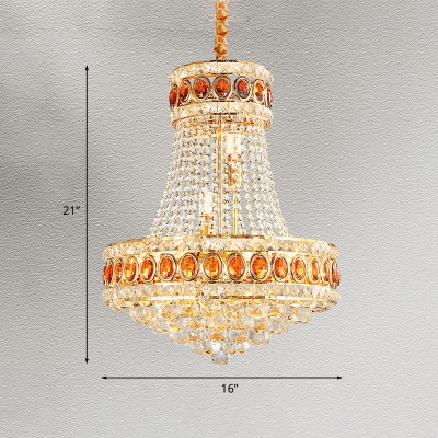 Traditional 2-Tier Hanging Chandelier 5-Light Faceted Crystal Pendant Ceiling Lamp in Gold