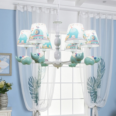 5/6 Bulbs Baby Room Hanging Chandelier Cartoon Light Blue Drop Lamp with Elephant-Print Fabric Shade