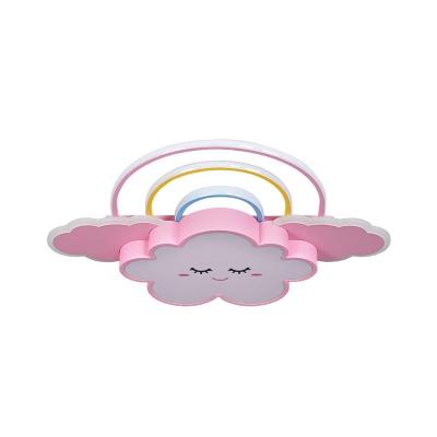 Acrylic Cloud and Rainbow Flush Light Fixture Cartoon LED Flushmount Lamp in White/Pink
