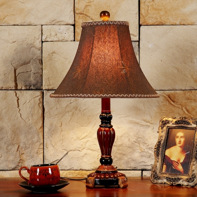 Farmhouse Empire Shade Nightstand Light 1 Head Fabric Night Table Lamp in Red Brown