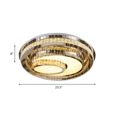 Tiered Oval Bedroom Ceiling Flush Light Contemporary Crystal Stainless Steel LED Flush Mounted Lamp