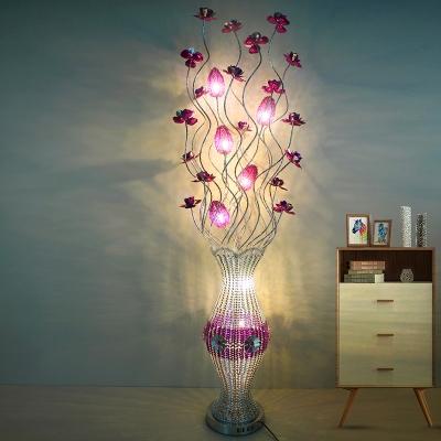 Art Deco Floret and Vase Floor Lighting Aluminum Wire LED Floor Standing Lamp in Purple
