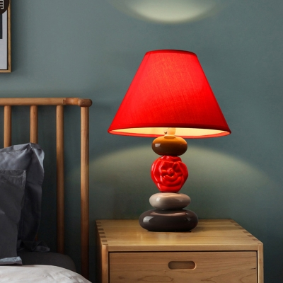 Creative Conic Shade Night Table Light 1 Light Fabric Desk Lamp with Stacked Stone Ceramics Base in Red for Bedside