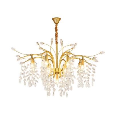 Crystal Foliage Chandelier Lighting Postmodern 9 Lights Living Room Hanging Pendant in Gold