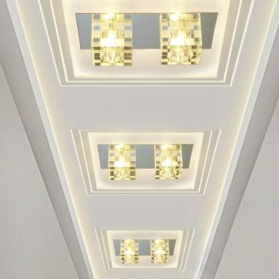 LED Hallway Ceiling Flush Modernism Nickel Flush Mounted Light with Cuboid Clear Crystal Shade