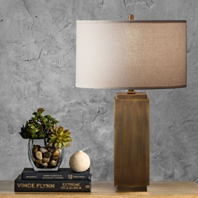Cuboid Wood Nightstand Light Farmhouse Single Light Bedroom Fabric Night Table Lamp in Grey/Brown