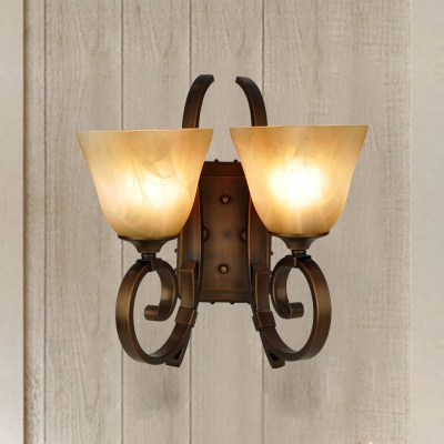 Frosted Glass Antiqued Bronze Sconce Square-Bell 2 Lights Farm Style Wall Mount Light Fixture