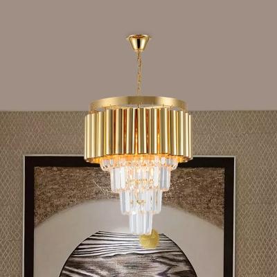 Gold 5 Lights Chandelier Pendant Postmodern Crystal Tapered Tiers Hanging Light Kit