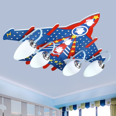 Kids Fighter Plane Wood Flush Mount Lamp 4-Light Close to Ceiling Lighting Fixture in Blue