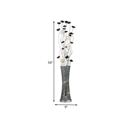 LED Aluminum Stand Light Art Deco Black and Silver Floral and Vase Living Room Floor Lamp