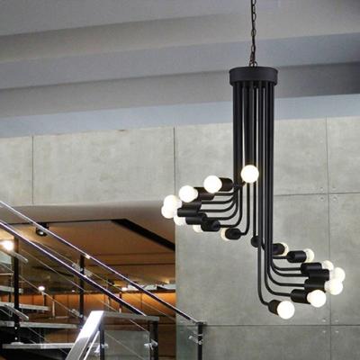 Modern Novelty Spiral Drop Lamp Metallic 16/26-Head Dining Room Chandelier Lighting in Black