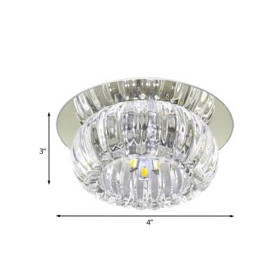 Round Corridor Flushmount Lamp Clear Crystal Glass LED Modernist Ceiling Flush Mount