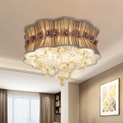 Scalloped Drum Flush Mount Lighting Modernist Plated Fabric 6-Light Pink/Coffee Flush Lamp with Flower Crystal Droplet
