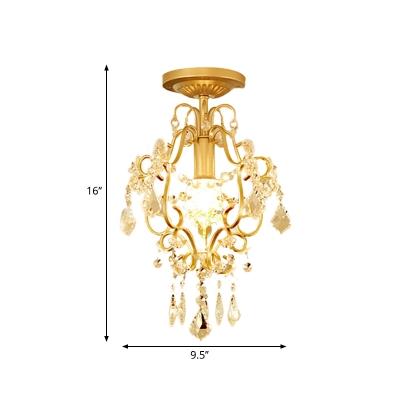 Scroll Frame Iron Semi Mount Lighting Post-Modern 1 Head Corridor Flush Ceiling Light in Gold with Crystal Drop