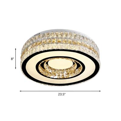 Simple Style Drum Flushmount Lighting Cut-Crystal LED Flush Ceiling Light in Nickel
