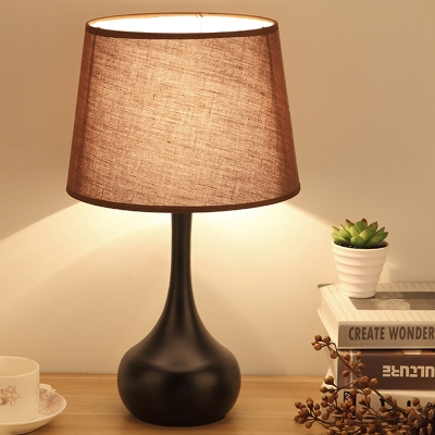 Touch Control 1 Head Table Light Lodge Long-Neck Vase Iron Nightstand Lamp with Brown/White Tapered Drum Shade