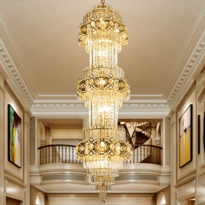 3 Tiers Elongated Hall Ceiling Pendant Luxurious Modern Clear Crystal 8-Light Gold Chandelier