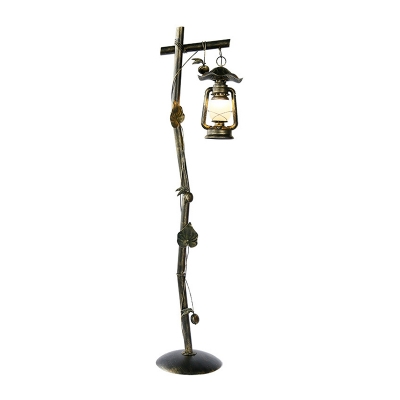 Coastal Style Lantern Stand Up Light Single Metal Tree Floor Standing Lamp in Bronze