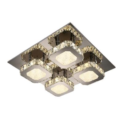 Crystal Squares Semi Mount Lighting Modernism Living Room LED Ceiling Flush Light in Stainless Steel