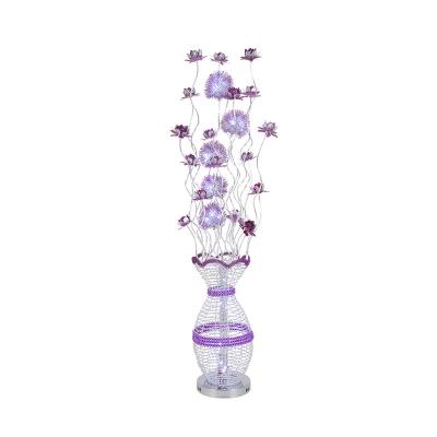Flower Aluminum Wire Floor Lighting Art Deco LED Parlour Standing Floor Lamp in Purple, White/Warm Light
