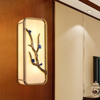 Gold Box Mural Flush Mount Wall Light Asian LED Fabric Wall Lighting with Branch Decor, 15