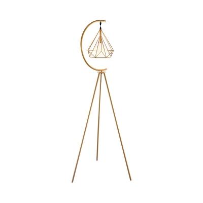 Iron Diamond Cage Floor Lamp Modern 1 Bulb Black/Gold Tripod Standing Lamp with Inner Fabric Shade