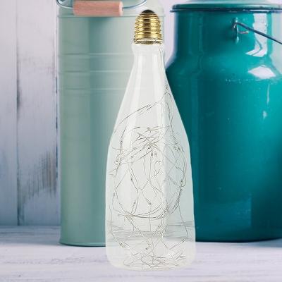 Clear Wine Bottle Lamp Bulb 1 Pack 3 W E27 40 LED Beads Plastic Multicolored Light