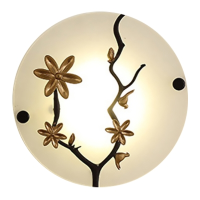 Disc Frosted White Glass Mural Light Asian Gold LED Wall Lighting Ideas with Flower and Branch Decor