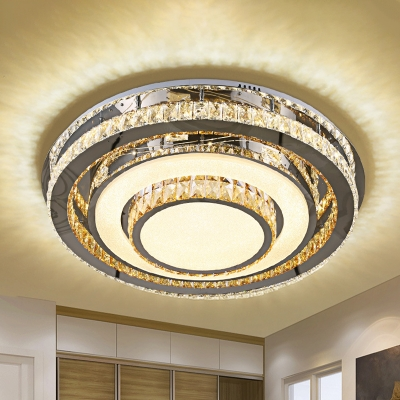 Inlaid Crystal Circles Ceiling Lighting Simple Bedroom LED Flush Light Fixture in Nickel