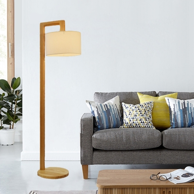 Right Angle Arm Wood Floor Lighting Modernism Single Head Beige Standing Floor Lamp with Drum White Fabric Shade