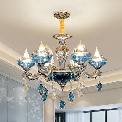 6-Light Blue Crystal Glass Ceiling Chandelier Mid Century Chrome Flower Bedroom Suspension Lamp