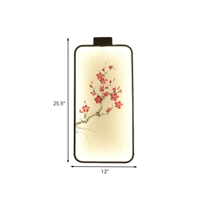 Lotus/Peach Blossom Hotel Wall Mural Lamp Fabric Chinese LED Wall Sconce Lighting in Black
