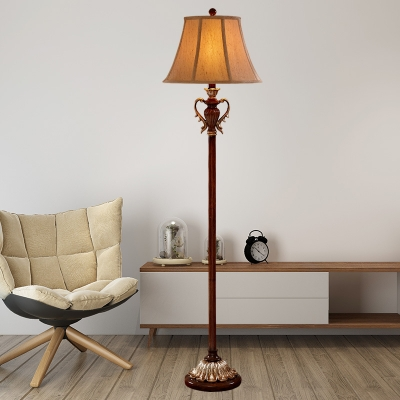 Traditional Empire Shade Floor Lamp Single Fabric Floor Standing Light in Brown for Living Room