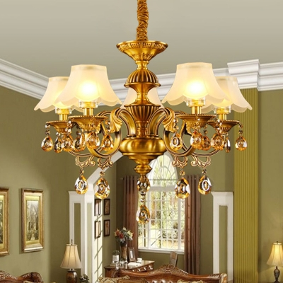 Traditional Wide Flared Scalloped Pendant 5 Bulbs Frosted White Glass Chandelier Lighting in Gold for Dining Room