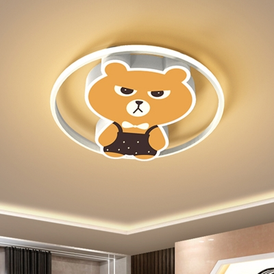 Cartoon Bear Flush Mount Lighting Metallic LED Bedroom Flush Lamp Fixture in Yellow, White/Warm Light