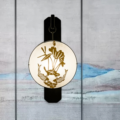 Chinese 1-Bulb Wall Hanging Light Black-Gold Fish and Lotus Leaf Silhouette Mural Lamp with Fabric Shade
