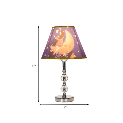 Fabric Barrel Shade Nightstand Light Cartoon Single Blue Table Lamp with Girl and Starry Sky Pattern