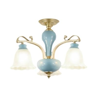 Flower Living Room Semi Flush Light Traditional Cream Glass 3/6/8-Light Blue Ceramics Flushmount