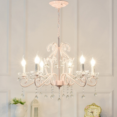 Modern Kid Chandelier 6 Light Candle Style Flush Mount Crystal Chandelier with Crystal Balls
