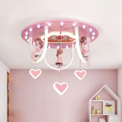 Pink Finish Girl and Swing Flush Lamp Cartoon LED Resin Ceiling Mounted Fixture with Loving Heart Detail