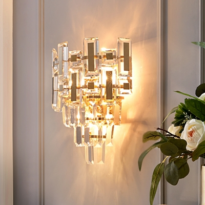 Post Modern 3 Lights Sconce with Crystal Block Shade Gold Finish Tapered Wall Light Fixture
