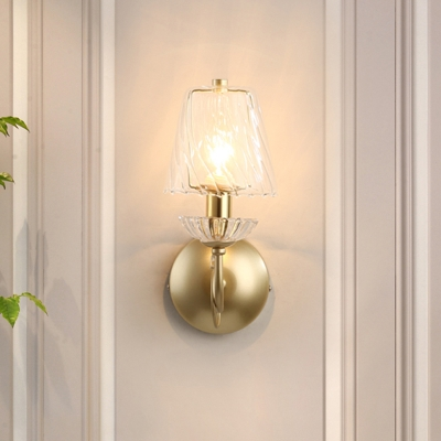 Beautifulhalo coupon: 1 Bulb Clear Ruffle Glass Wall Mount Lamp Minimalist Gold Finish Barrel Indoor Wall Light Fixture