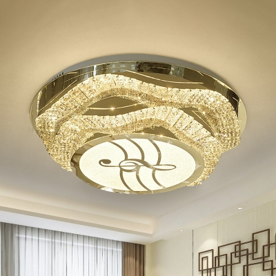 2-Tier Floral LED Ceiling Lamp Contemporary Stainless Steel Crystal Flush Mount with Music Note Pattern