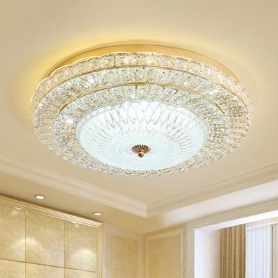 Beveled Crystal LED Ceiling Lamp Modern Gold 3-Layer Round Hotel Flush Mount Light Fixture