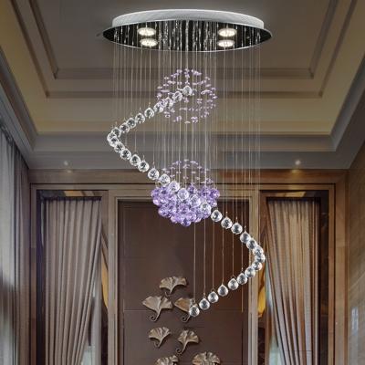 Chrome Raindrop Hanging Lamp Fixture Contemporary Crystal Balls LED Spiral Pendulum Lamp