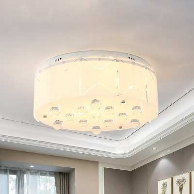 Drum Shade Crystal Orbs Flushmount Modernism 6 Lights White Ceiling Mounted Fixture