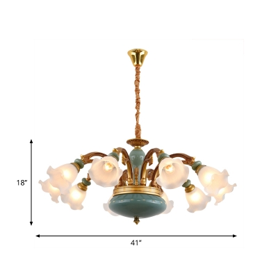 Flower Shade Living Room Drop Pendant Countryside Opal Glass 6/8/10-Bulb Gold Chandelier with Blue Ceramics Detail