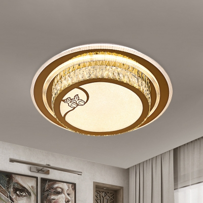 Full Moon LED Flush Mount Lamp Minimalistic Stainless Steel Crystal Close to Ceiling Light