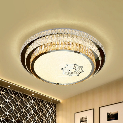 Inserted Crystal LED Ceiling Fixture Minimal Stainless Steel 3-Tier Round Bedroom Flush Mount Lighting