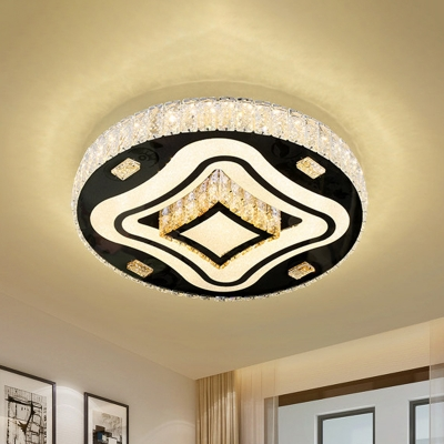 Round Bedroom Ceiling Flush Light Simplicity Inserted Crystal Stainless Steel LED Flushmount